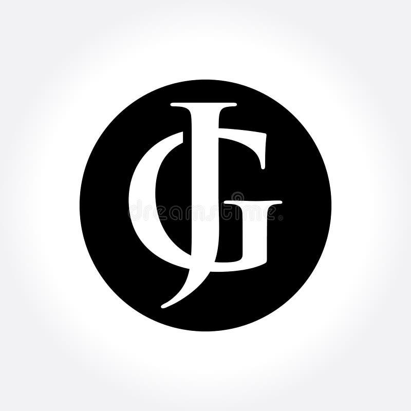 Cirkel för insida för initiala bokstäver för JG, monogramlogo stock illustrationer