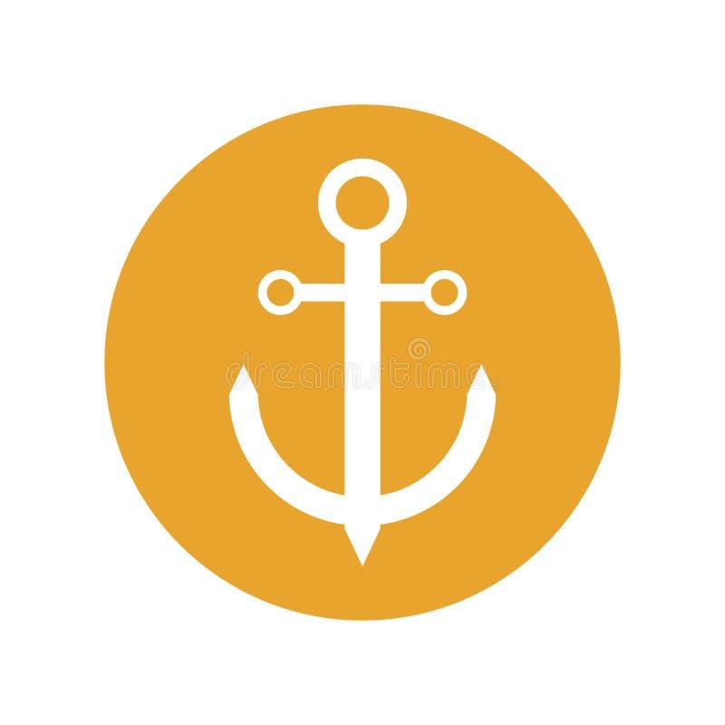cirkel för nautiskt lopp för ankare maritim gul stock illustrationer