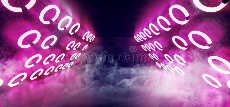 Cirkel för podium för etapp för klubba för dans för Sci Fi modern främmande triangelneon som glödande rosa purpurfärgad blå forma arkivfoton