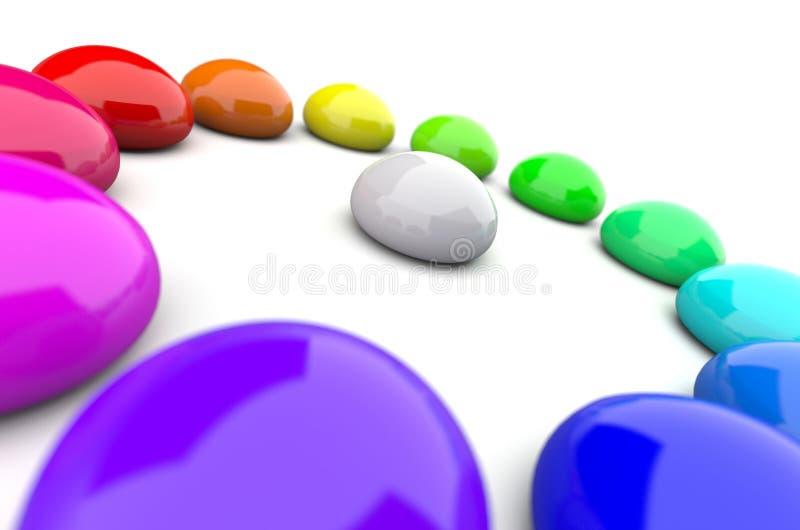 Cirkel för regnbågefärgdroppar stock illustrationer
