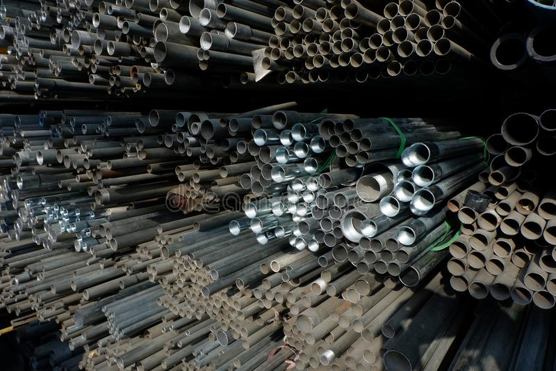 Cirkel för stålrör i lager fotografering för bildbyråer