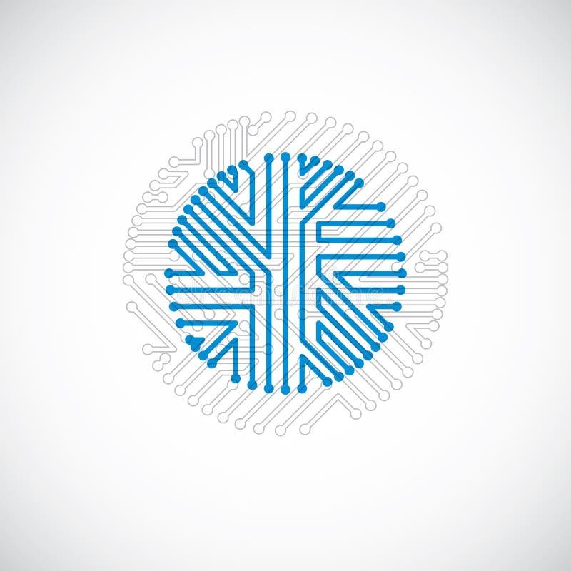 Cirkel för vektorströmkretsbräde, abstraktion för digitala teknologier B royaltyfri illustrationer