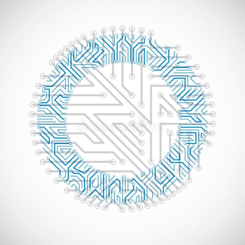 Cirkel för vektorströmkretsbräde, abstraktion för digitala teknologier B vektor illustrationer