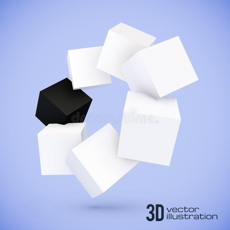 Cirkel för vit- och svartkubvektor vektor illustrationer