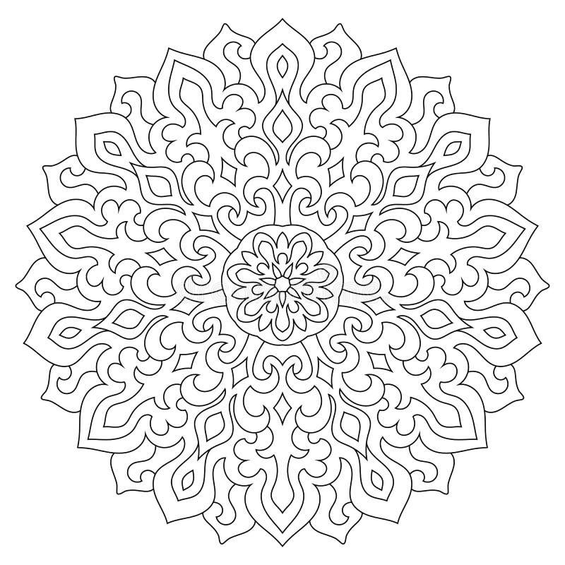 Cirkel geometrisch ornament Rond overzicht Mandala voor het kleuren van pagina vector illustratie