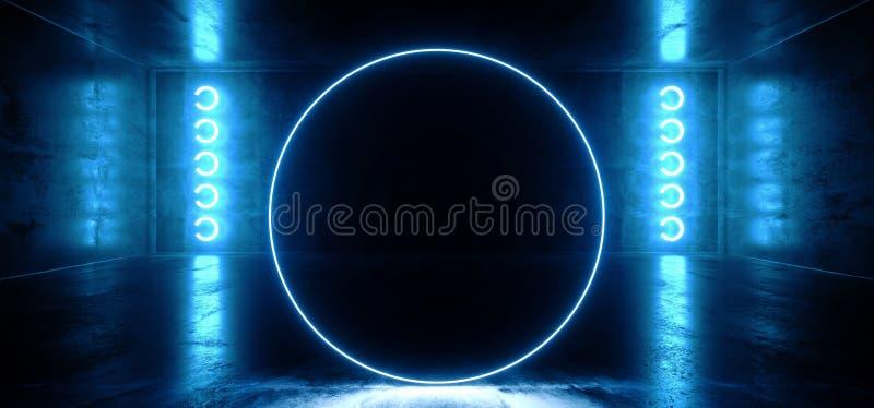 Cirkel Gestalte gegeven Neon het Gloeien Blauw Trillend Virtueel FI van de Bezinnings Concreet Hall Room Stage Lights Sci van Wer vector illustratie