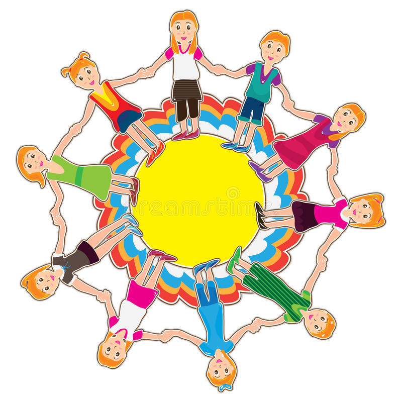 Cirkel Girls_eps royalty-vrije illustratie