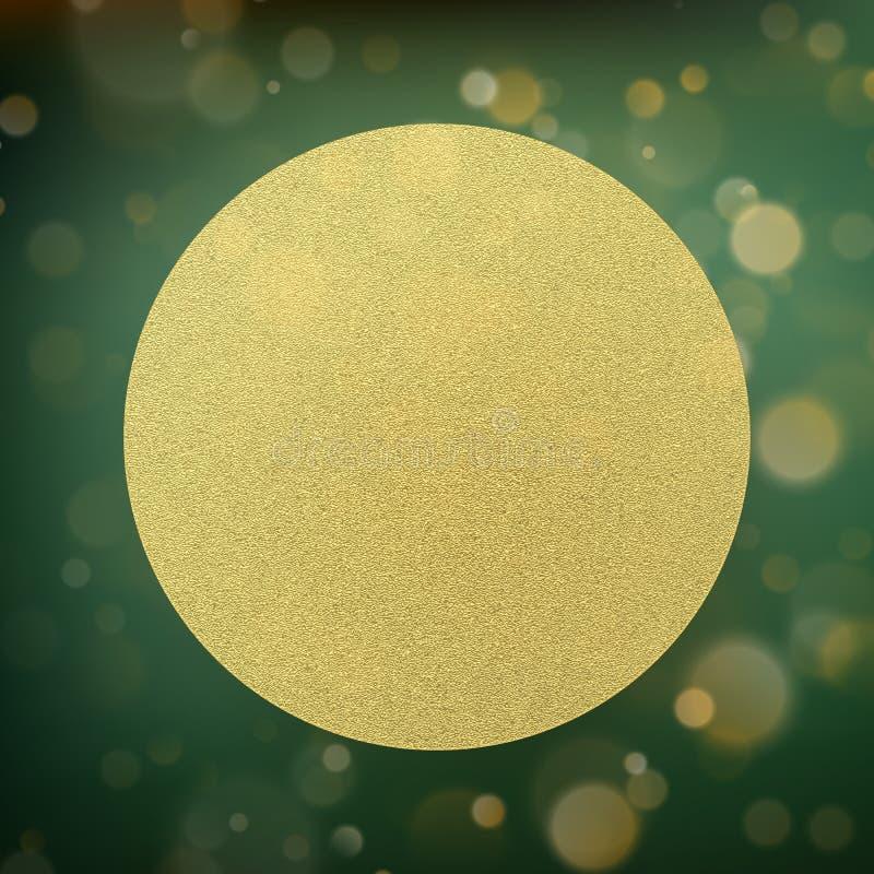 Cirkel gouden folie op groen met bokehachtergrond Eps 10 stock illustratie