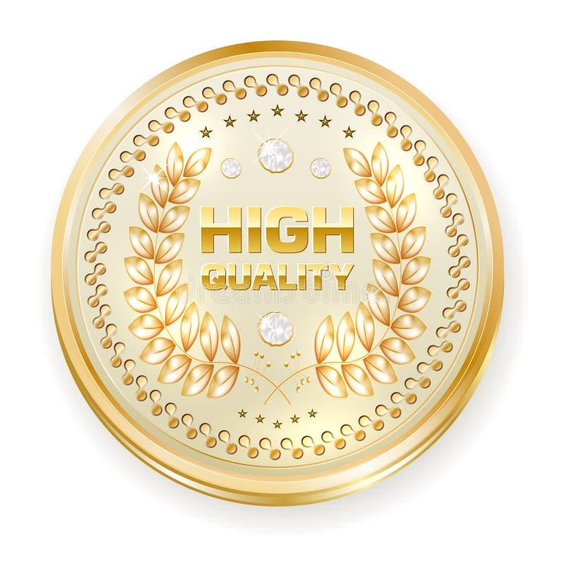 Cirkel gouden kader met HOGE diamanten - - KWALITEITSkenteken stock illustratie