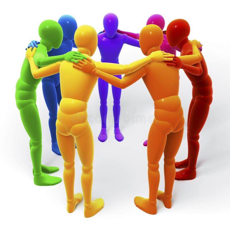 Cirkel, groep gekleurde cijfers, mensen stock illustratie