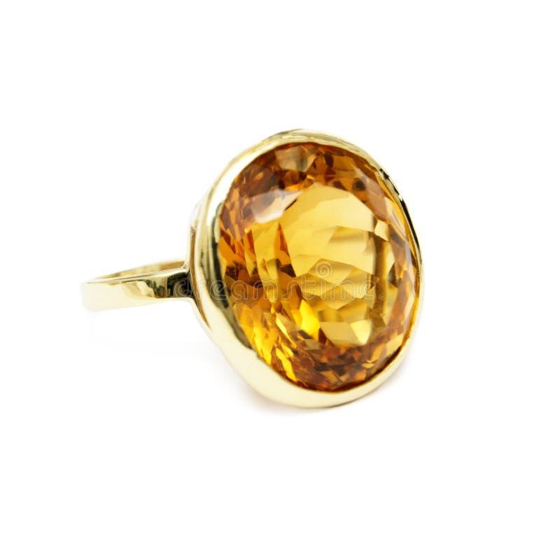 Cirkel - gul dyrbar/Halv-dyrbar Gemstone, uppsättning i guld royaltyfri fotografi
