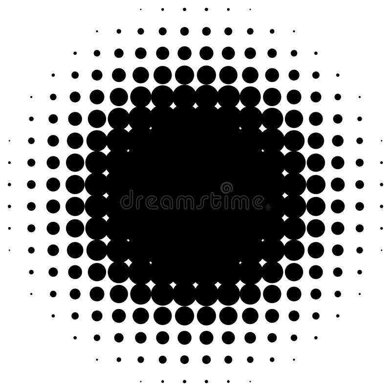 Cirkel halftone element Zwart-wit gestippeld cirkelpatroon vector illustratie