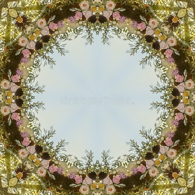 Cirkel hoekig bloemendieontwerp van huwelijksbloemen bij zonsondergang wordt gemaakt royalty-vrije illustratie