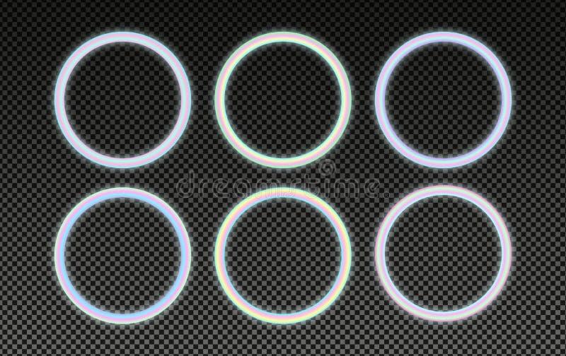 Cirkel holografische die kaders in psychedelische vaporwavestijl worden geplaatst De gloeiende elementen van het neonontwerp royalty-vrije illustratie