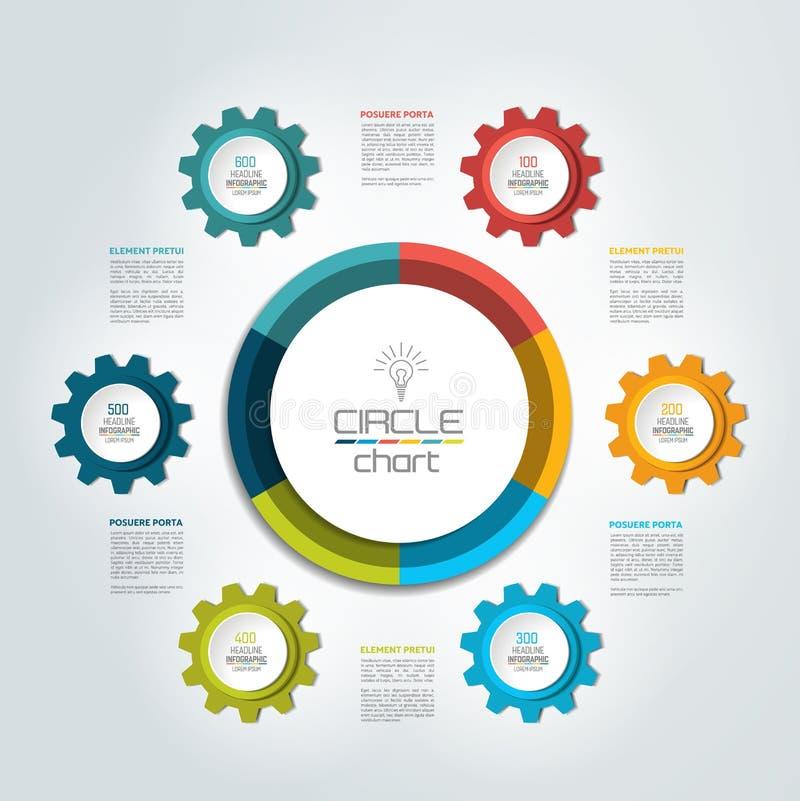 Cirkel infographic grafiek, diagram, regeling royalty-vrije illustratie