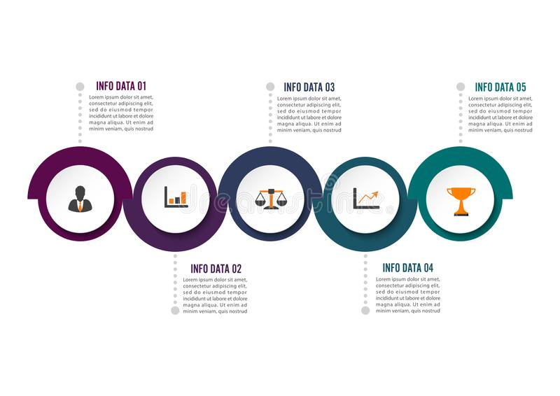 Cirkel infographic malplaatje vijf optie, proces of stap voor bedrijfspresentatie stock illustratie