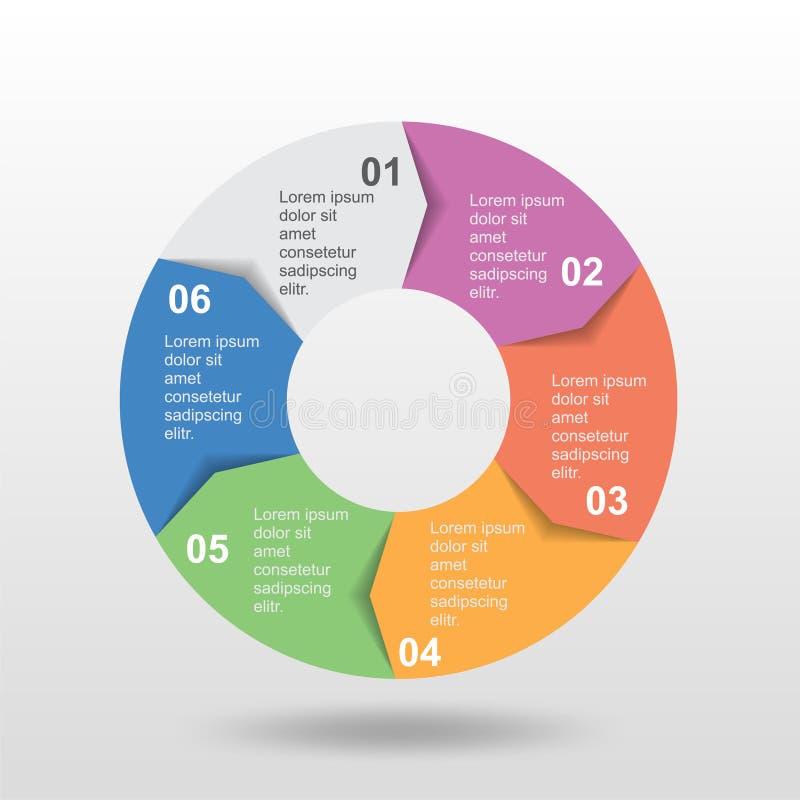 Cirkel infographic malplaatje zes stap voor bedrijfspresentatie vector illustratie