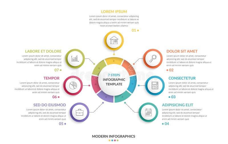 Cirkel Infographics - sju beståndsdelar royaltyfri illustrationer