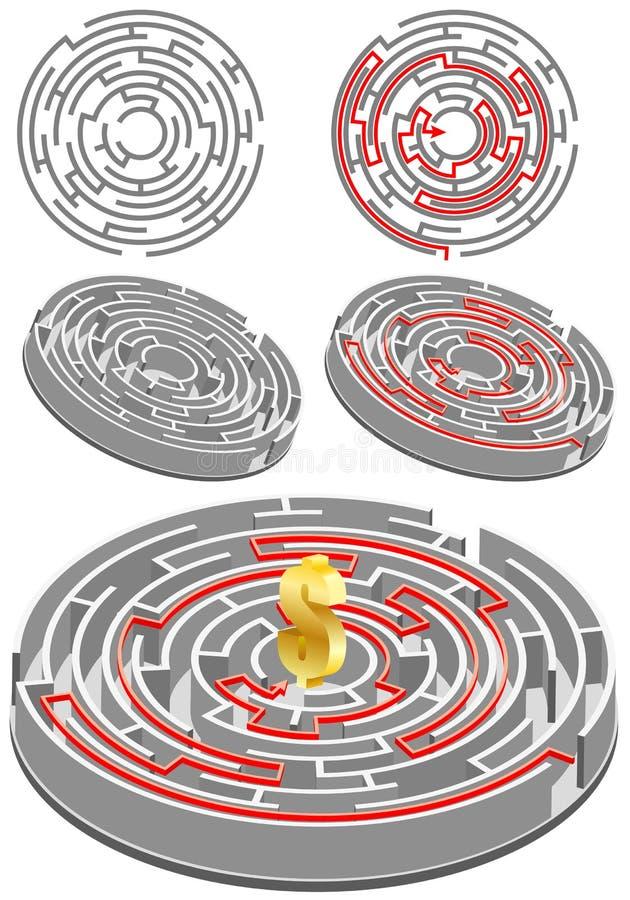 Cirkel Labyrint stock illustratie