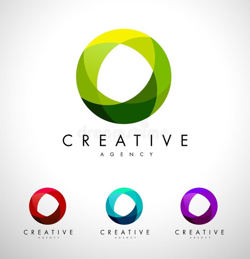 Cirkel Logo Design Sfärisk logo stock illustrationer