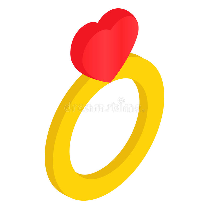 Cirkel med den isometriska symbolen 3d för hjärta royaltyfri illustrationer
