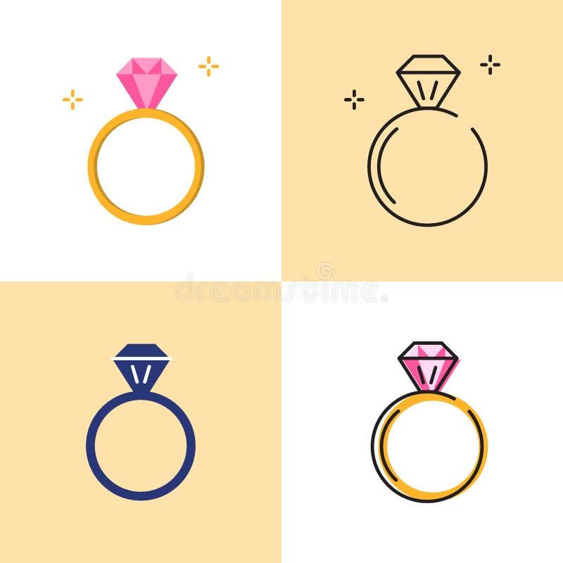 Cirkel med diamantsymbolsupps vektor illustrationer