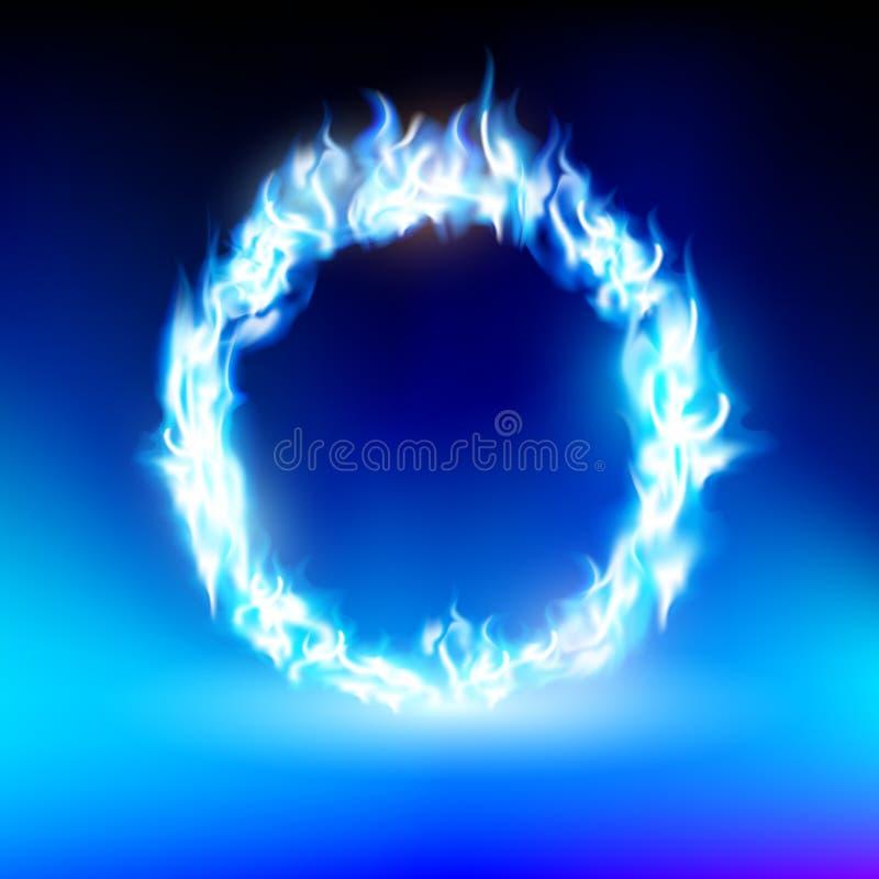 Cirkel med en blå flamma royaltyfri illustrationer