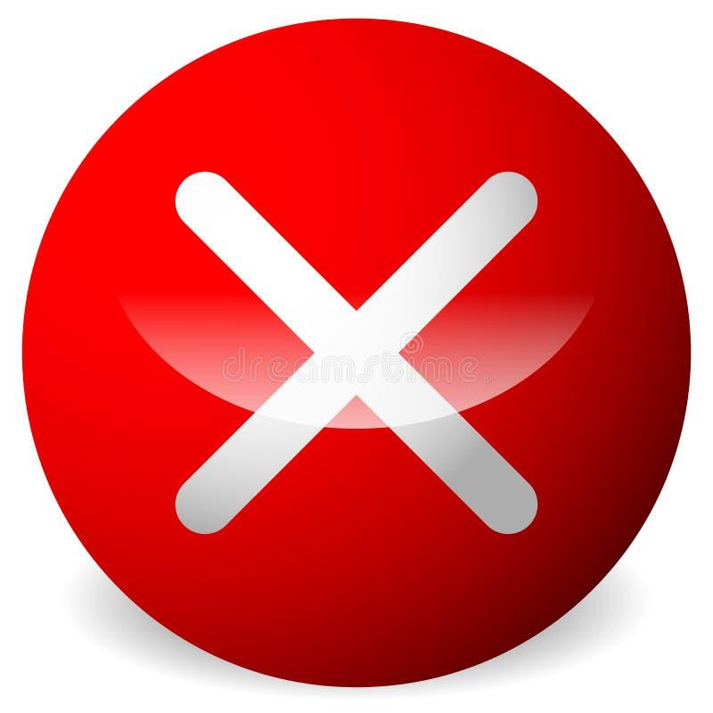 Cirkel med x-form, kors Borttagnings tar bort, avslutade knappen stock illustrationer