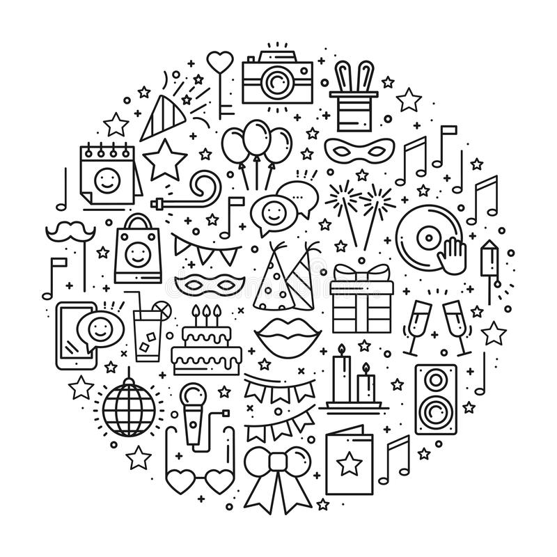 Cirkel med partisymboler i linjen stil Grundläggande tema för födelsedagbeståndsdelbegrepp Unikt partirundatryck Semestrar händel vektor illustrationer