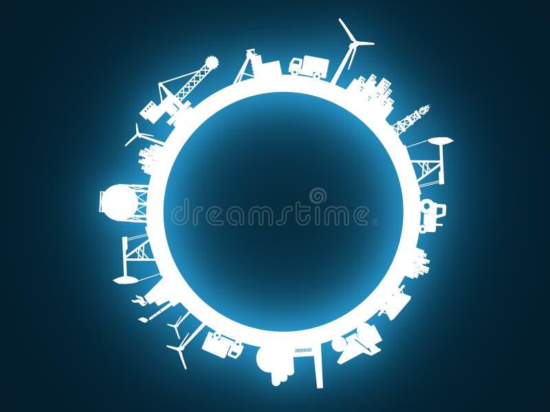 Cirkel met de industrie relatieve silhouetten stock illustratie