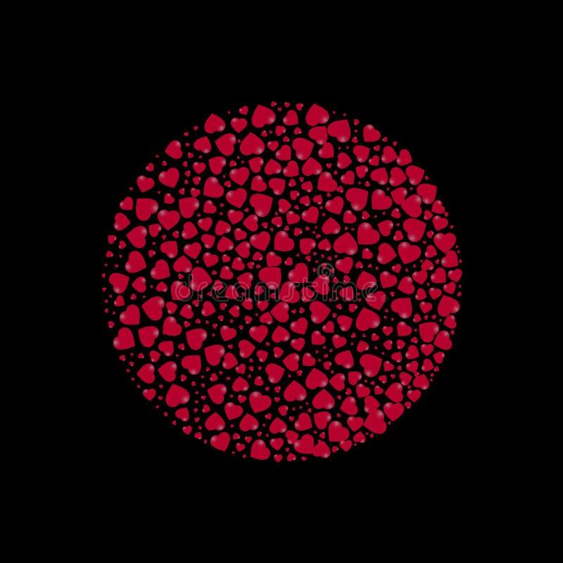 Cirkel met harten op een zwarte achtergrond wordt gevuld die Vector illustratie vector illustratie