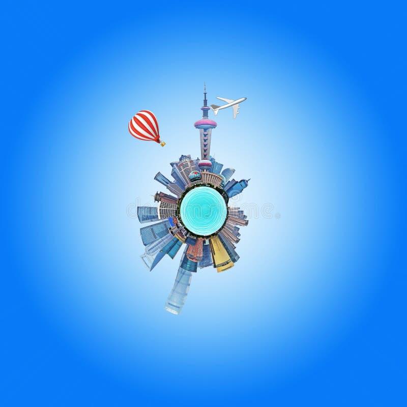 Cirkel met stad gebouwen royalty-vrije stock afbeeldingen
