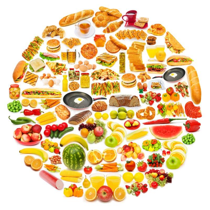Cirkel met veel voedsel stock foto