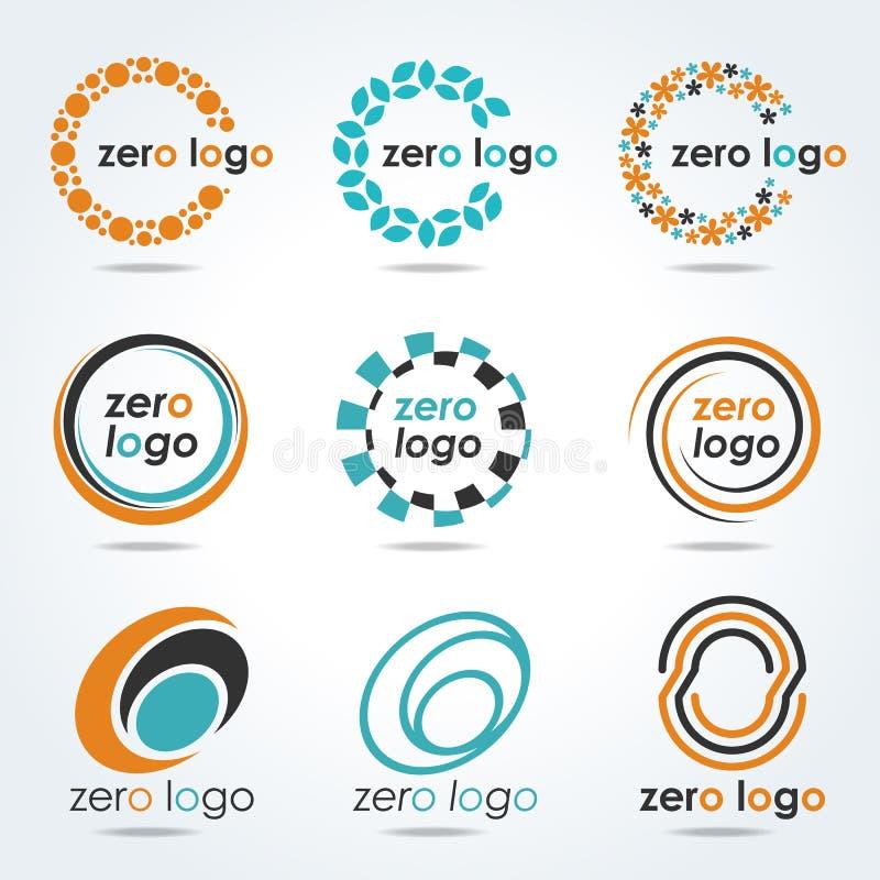 Cirkel nul embleem voor bedrijfs vector vastgesteld ontwerp royalty-vrije illustratie