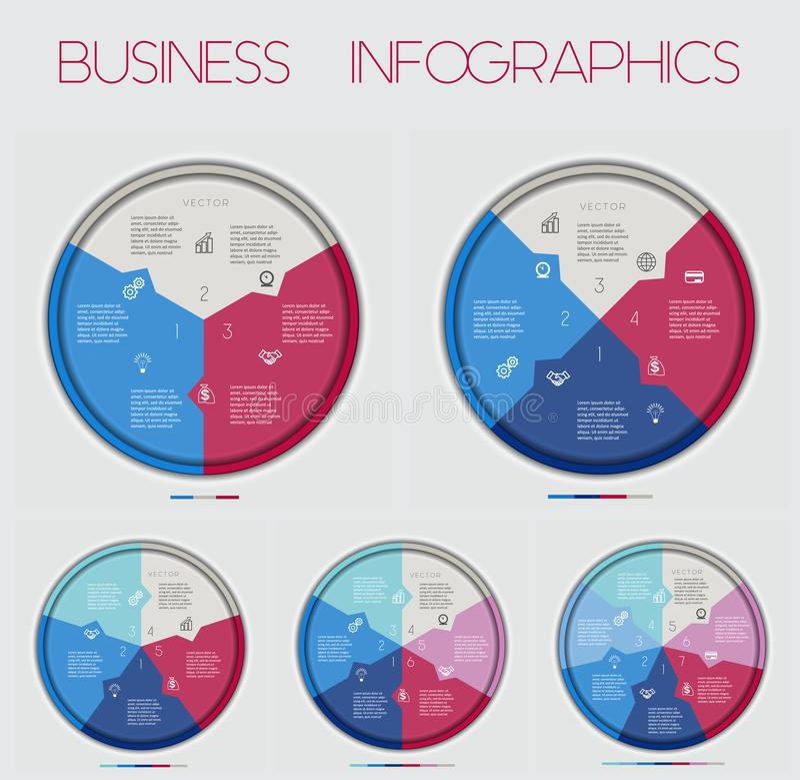 Cirkel Numbereds av områdesdiagram 3 4 5 6 7 alternativ, för Infographic, diagram, teknologisk process, affärsidé eller annan royaltyfri illustrationer
