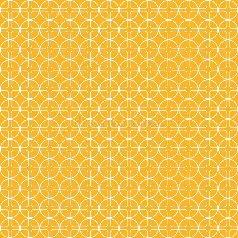 Cirkel orange modell för fyrkanter, cirklar sömlös bakgrund, vektorillustration stock illustrationer