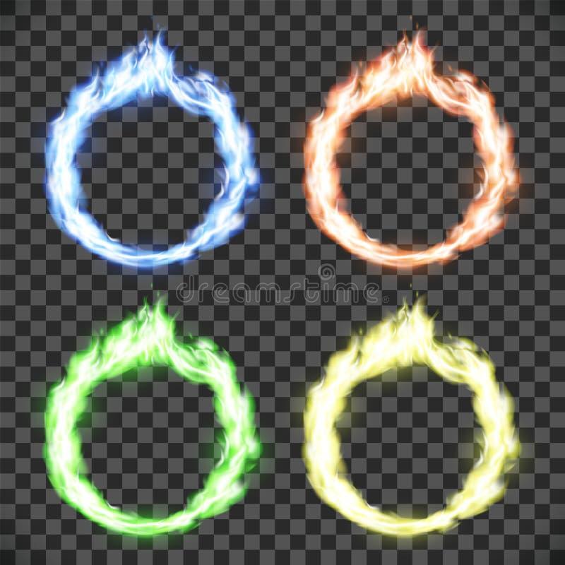 Cirkel på brand Ställ in av cirkelflammamodeller som isoleras på genomskinlig bakgrund royaltyfri illustrationer