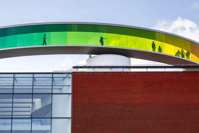 Cirkel panoramisch dak van het kunstmuseum, Aarhus royalty-vrije stock afbeeldingen