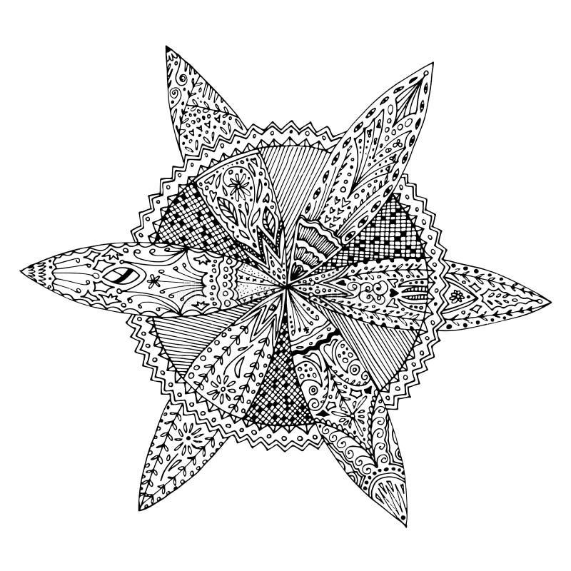 Cirkel ronde bloemrijke mandala zentangle hand getrokken krabbel Kleurende pagina voor volwassenen, antispanning, ontspanningsact royalty-vrije illustratie