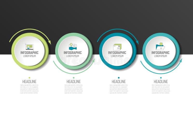 Cirkel, ronde grafiek, regeling, infographic chronologie, royalty-vrije illustratie
