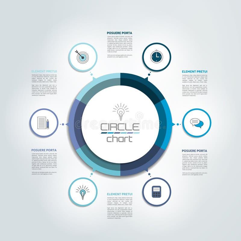 Cirkel, ronde infographic grafiek, diagram, regeling vector illustratie