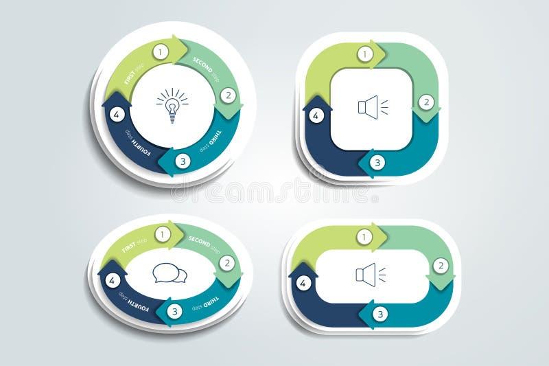 Cirkel, ronde in vier delenpijlen die wordt verdeeld Malplaatje, regeling, diagram, grafiek, grafiek, presentatie vector illustratie