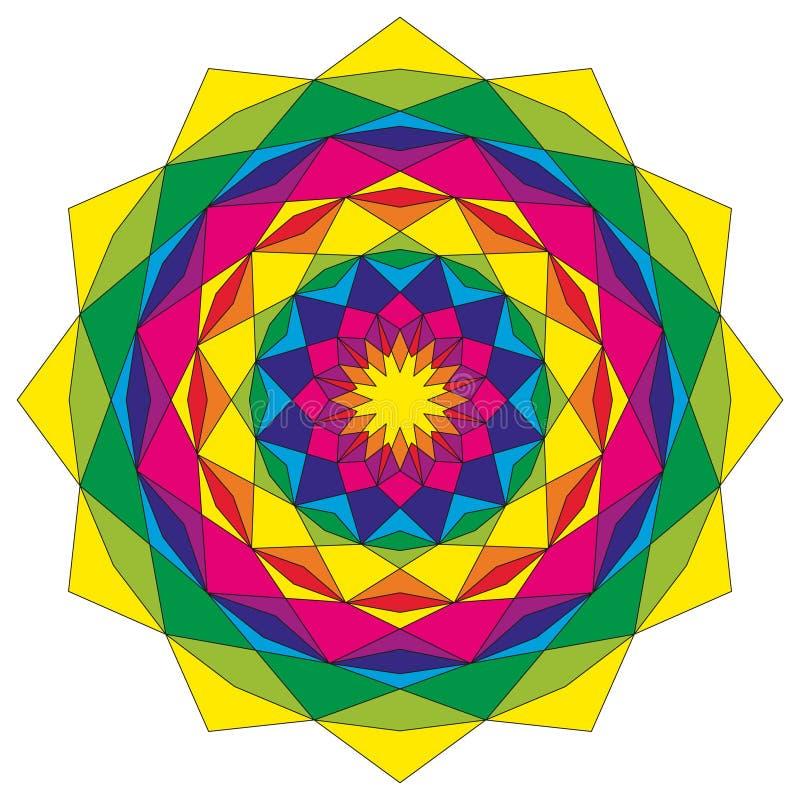 Cirkel stervormige geometrische gekleurd kleurrijk van patroonmandala - mysticusachtergrond royalty-vrije illustratie