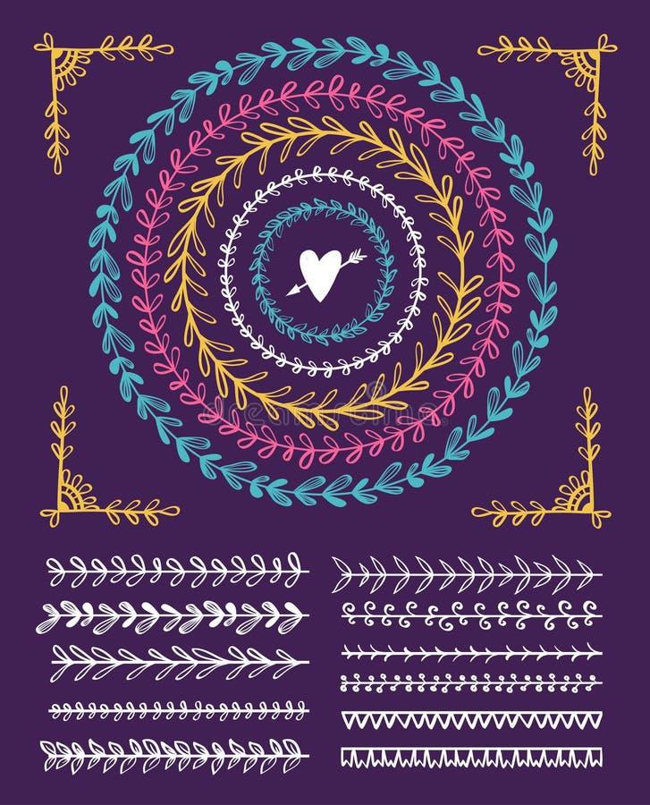 Cirkel uitstekende bloemenhand getrokken kaders en borstels Vector illustratie royalty-vrije illustratie