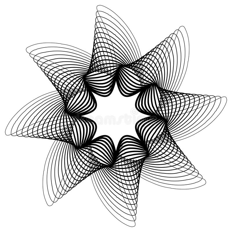Cirkel, uitstralend abstracte vorm, motief Geometrisch ontwerp elem royalty-vrije illustratie
