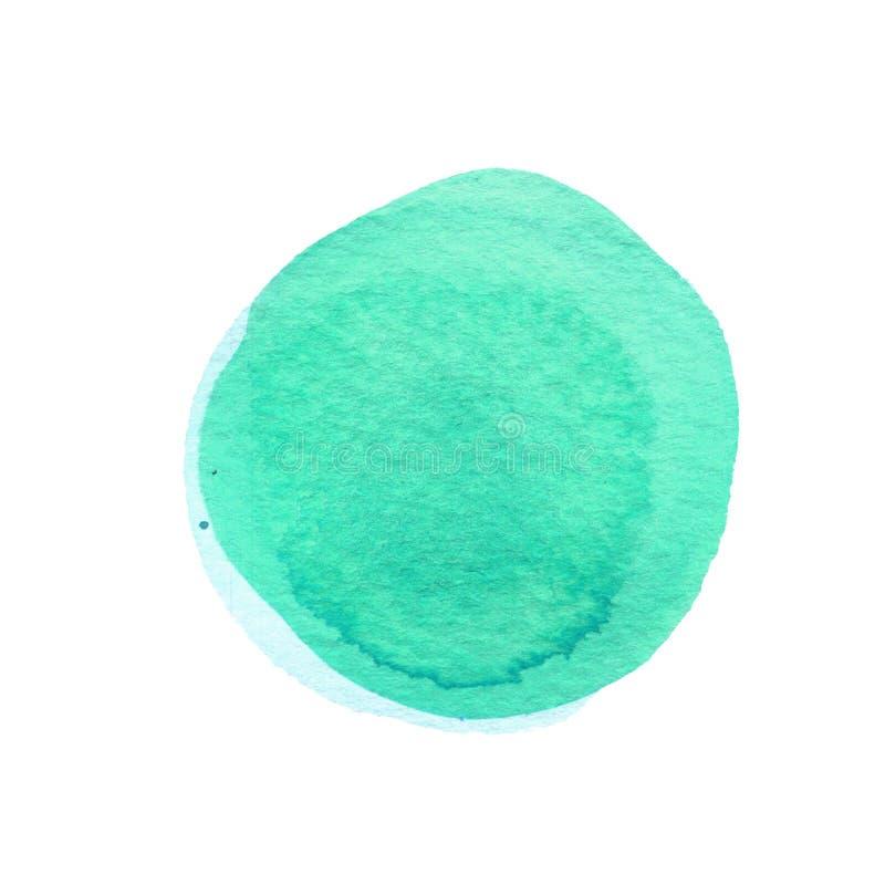 Cirkel van de munt de groene die waterverf op wit wordt geïsoleerd Abstracte ronde achtergrond De textuur van Watercolourvlekken  vector illustratie