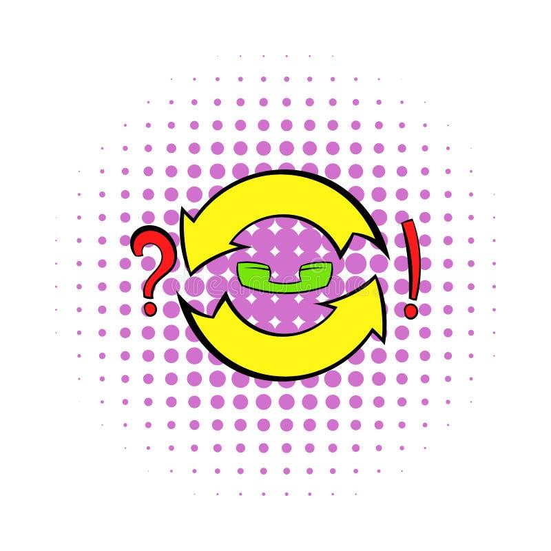 Cirkel van de pijlvraag en uitroep tekenpictogram stock illustratie