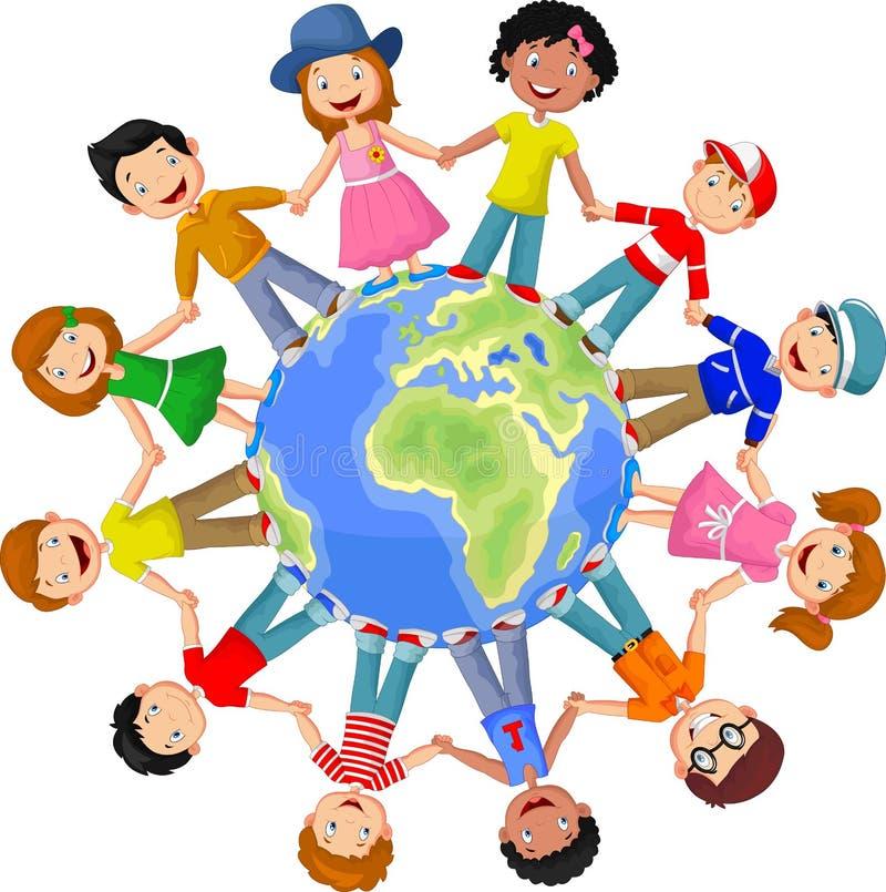 Cirkel van gelukkige kinderen verschillende rassen stock illustratie