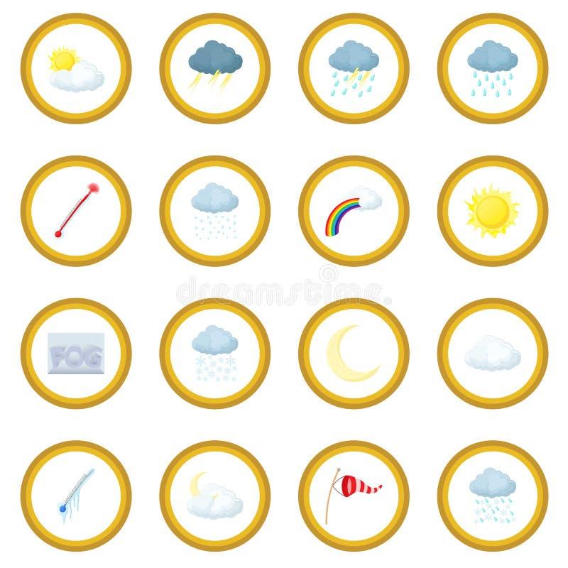 Cirkel van het weer de vastgestelde pictogram royalty-vrije illustratie