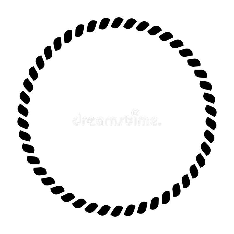 Cirkel van kabelpatroon Sier decoratief frame Zwarte Vectorillustratie stock illustratie